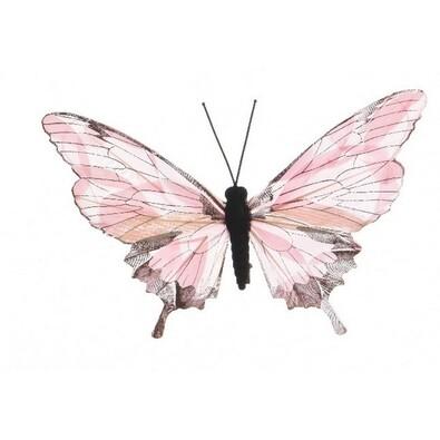 Dekoračný Motýlik ružová, 20 cm