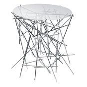 Blow Up stolek 44 x 45 cm, stříbrný