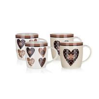 Set căni ceramice 4 buc. BANQUET CHOCO HEARTS  360 ml
