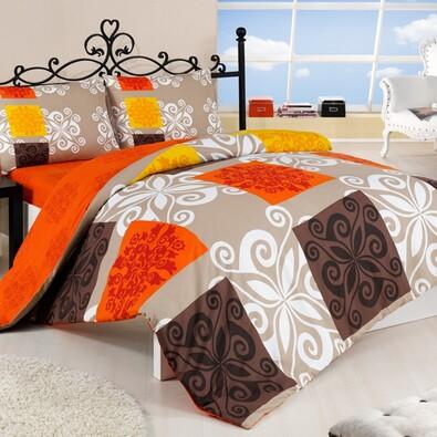 Bavlněné povlečení Sedef oranžová, 140 x 220 cm, 70 x 90 cm
