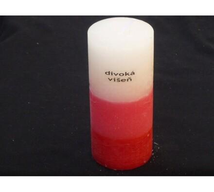 Tříbarevná svíčka s vůní divoké višně