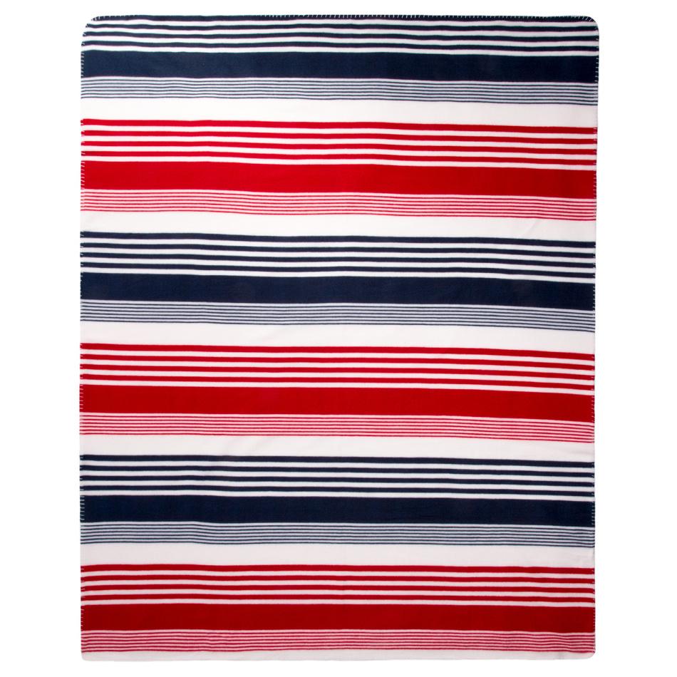 VOG Fleecová deka Proužek Trikolor, 130 x 170 cm