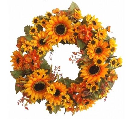 Umělý věnec slunečnic a hortenzií - 42 cm