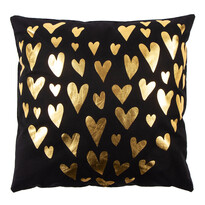 Poduszka Gold De Lux Srdce czarny, 43 x 43 cm