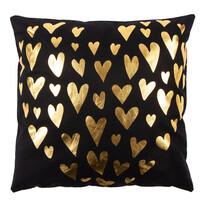 Polštářek Gold De Lux Srdce černá, 43 x 43 cm