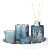 Set cadou lumânări și difuzor Fragranza 5 buc.,,albastru