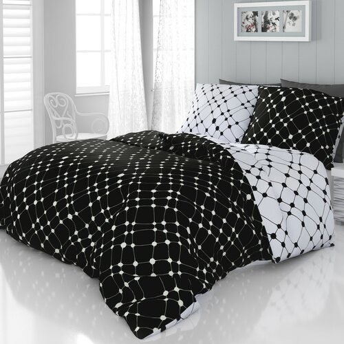 Lenjerie de pat din satin Infinity alb-negru 1 pers., 140 x 220 cm, 70 x 90 cm