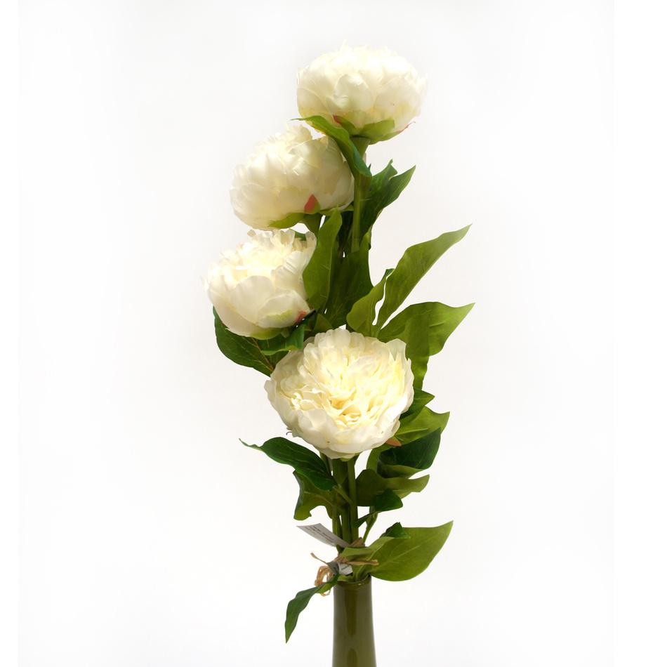 Umelá kvetina pivoňka, biela, darčekové balenie, 4 ks, Livo