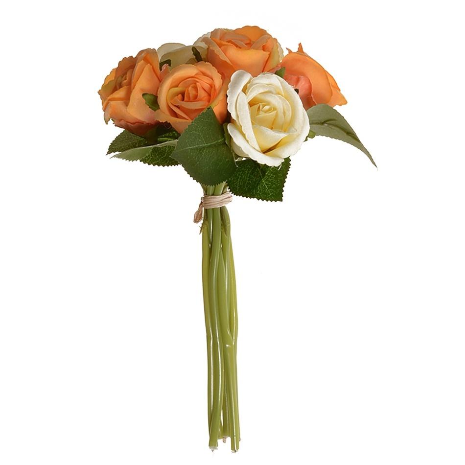 Művirág csokor rózsabimbóval, narancssárga, 22 cm