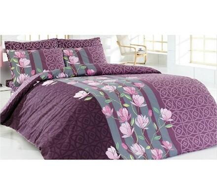Bavlněné povlečení Carmine, fialová, 140 x 200 cm, 70 x 90 cm
