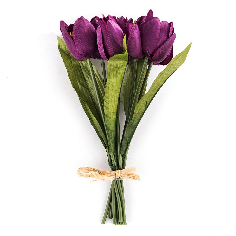 Umělá květina tulipán 9 ks, fialová, HTH