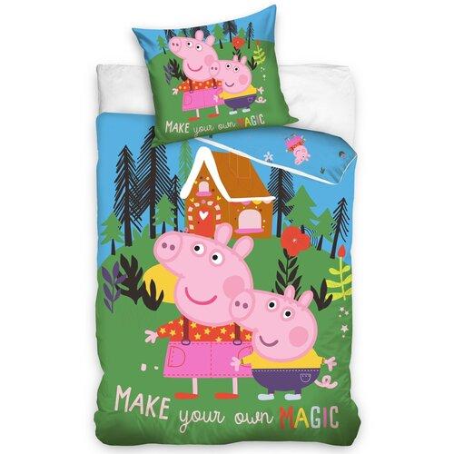 Gyermek pamut ágynemű – Peppa Malac és George, A varázslatos erdő, 140 x 200 cm, 70 x 90 cm