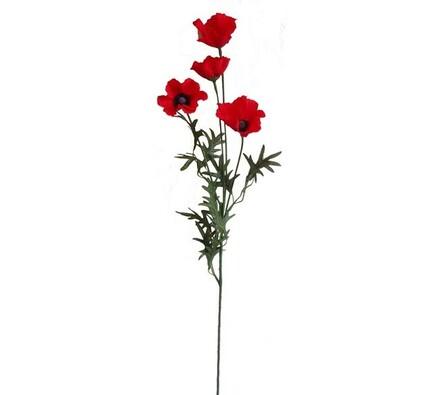 Umělá květina vlčí mák, červená