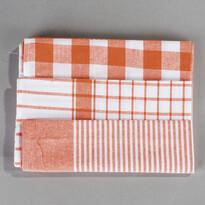 Sada kuchyňských utěrek mix oranžová, 50 x 70 cm, 3 ks