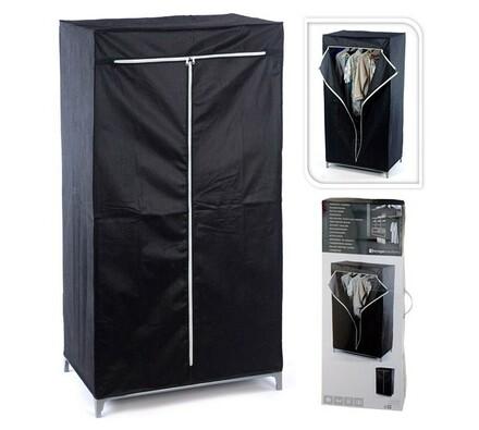 Textilní skříň 110 x 46 x 175 cm, černá, 110 x 46 x 175 cm