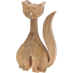 Dekorativní dřevěná kočka 24 cm