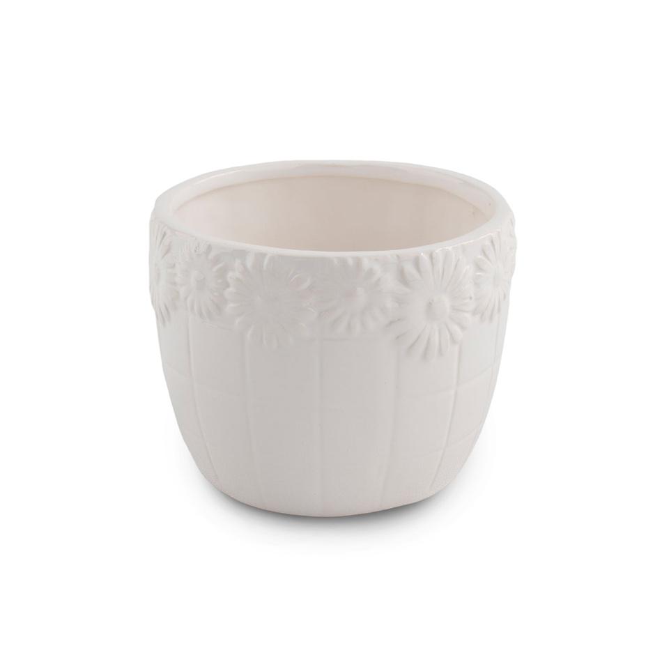 Keramický květináč Kopretina, bílá