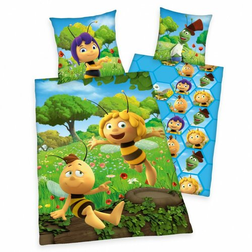 Produktové foto Herding Dětské bavlněné povlečení do postýlky Včelka Mája, 100 x 135 cm, 40 x 60 cm