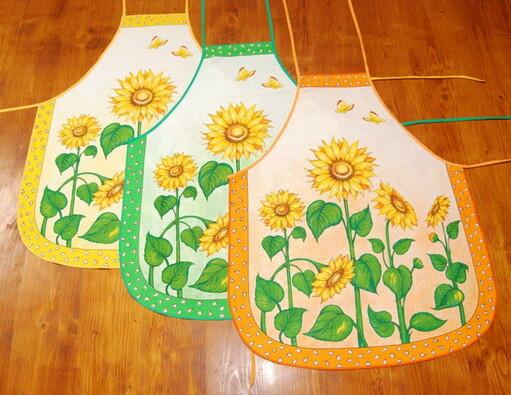 Kuchyňská zástěra slunečnice, zelená