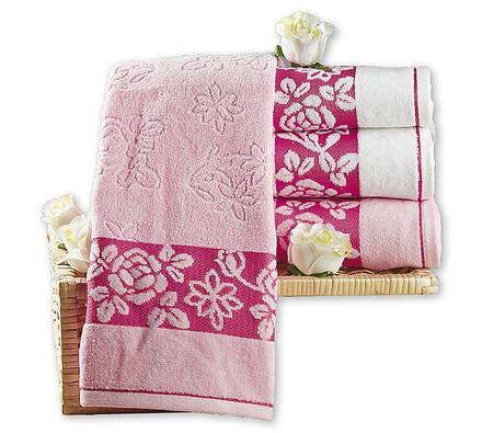 Ručníky růžové, 50 x 90 cm, sada 4 ks
