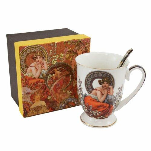 Porcelánový hrnek se lžičkou Alfons Mucha 280 ml v dárkové krabičce