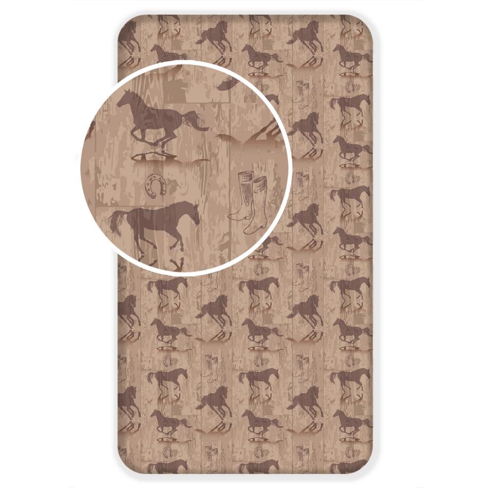 Jerry Fabrics Dětské bavlněné prostěradlo Kůň Western, 90 x 180 cm