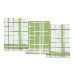 Kuchyňské utěrky Kostka zelená, 50 x 70 cm, sada 3 ks