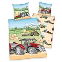 Gyermek pamut ágynemű, Traktor, 140 x 200 cm, 70 x 90 cm