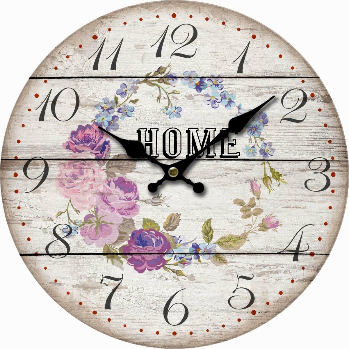 Dřevěné nástěnné hodiny Home and flowers, pr. 34 cm