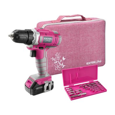 EXTOL-LADY akkumulátoros fúró/csavarhúzó táskában, 1x1300 mAh, 12 V Li-Ion, rózsaszín