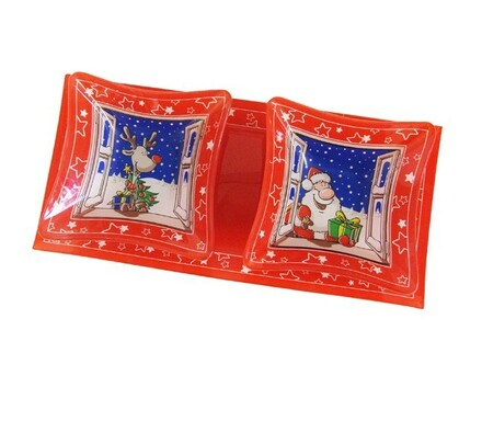 Podnos vánoční + 2 misky, sklo