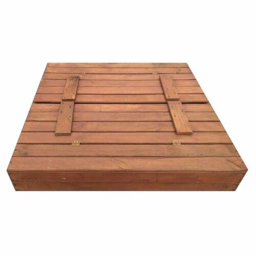 Pixino Dřevěné pískoviště s lavičkami 120 x 120 cm, tmavě hnědá