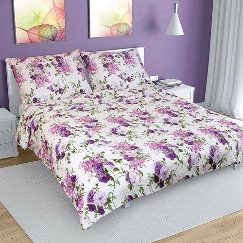 Lenjerie de pat, din crep, Trandafir lila, 200 x 220 cm, 2 buc. 70 x 90 cm