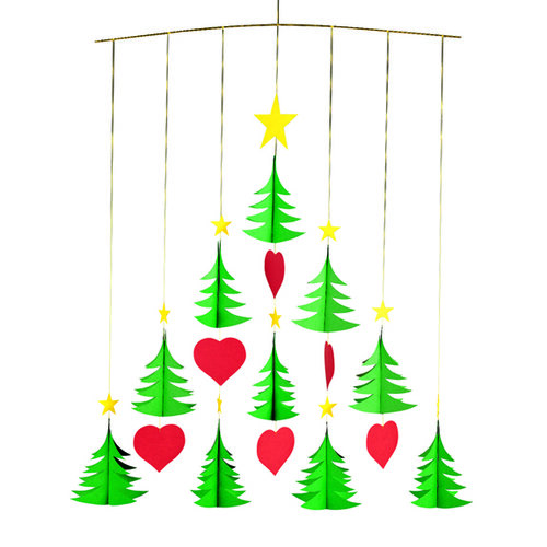 Flensted Mobiles Kinet Christmas Trees 10, 50 cm, zelený