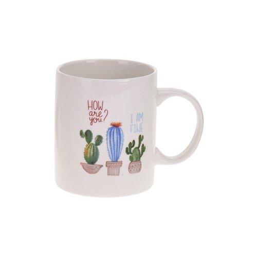 Koopman Porcelánový hrnček Kaktus, modrá