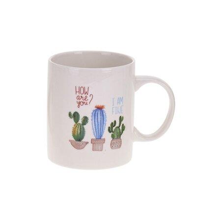Porcelánový hrnček Kaktus, modrá