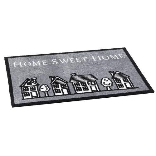 Covoraş intrare interior Home sweet home grey, 50 x 75 cm