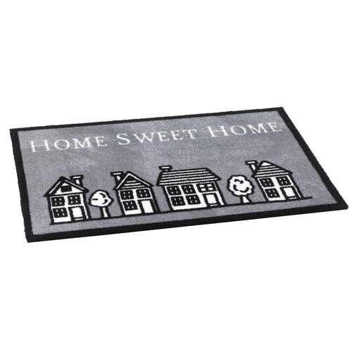 Vnitřní rohožka Home sweet home grey, 50 x 75 cm