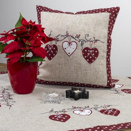 Obliečka na vankúšik Srdiečka bodka červená, 40 x 40 cm