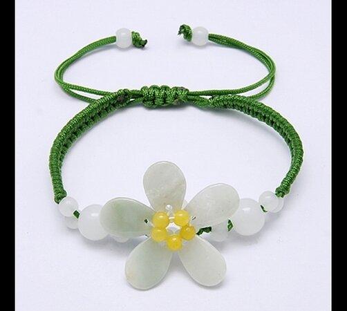 Dámský náramek s květinou, zelená
