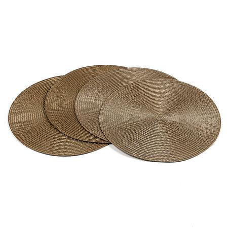 Podkładki na stół Deco okrągłe jasnobrązowy, śr. 35 cm, zestaw 4 szt.