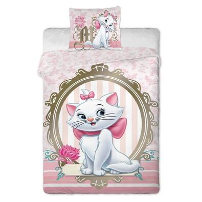 Dětské bavlněné povlečení Kočka Marie gold, 140 x 200 cm, 70 x 90 cm