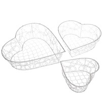 Sada dekoračních kovových košíků Wire heart, 3 ks