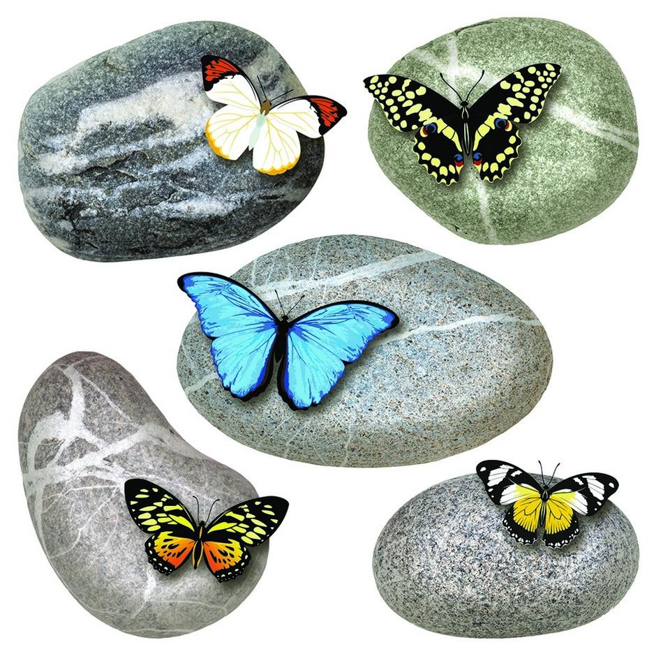 Naklejka Butterflies on Stones, 30 x 30 cm