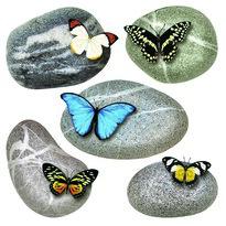 Butterflies on Stones öntapadó dekoráció, 30 x 30 cm