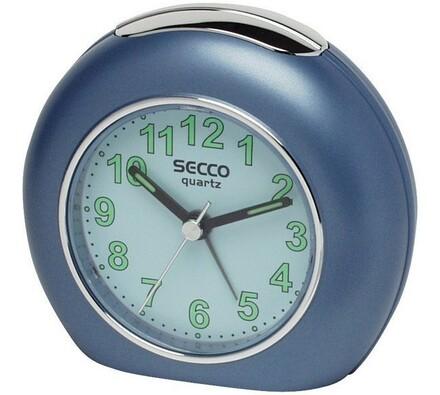 Budík Secco ručičkový, kruh, modrá