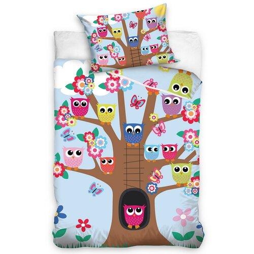 Carbotex Detské bavlnené obliečky do postieľky Sovičky na strome, 100 x 135 cm, 40 x 60 cm