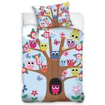 Gyerek pamut ágyneműhuzat kiságyhoz  Baglyok a fán, 100 x 135 cm, 40 x 60 cm