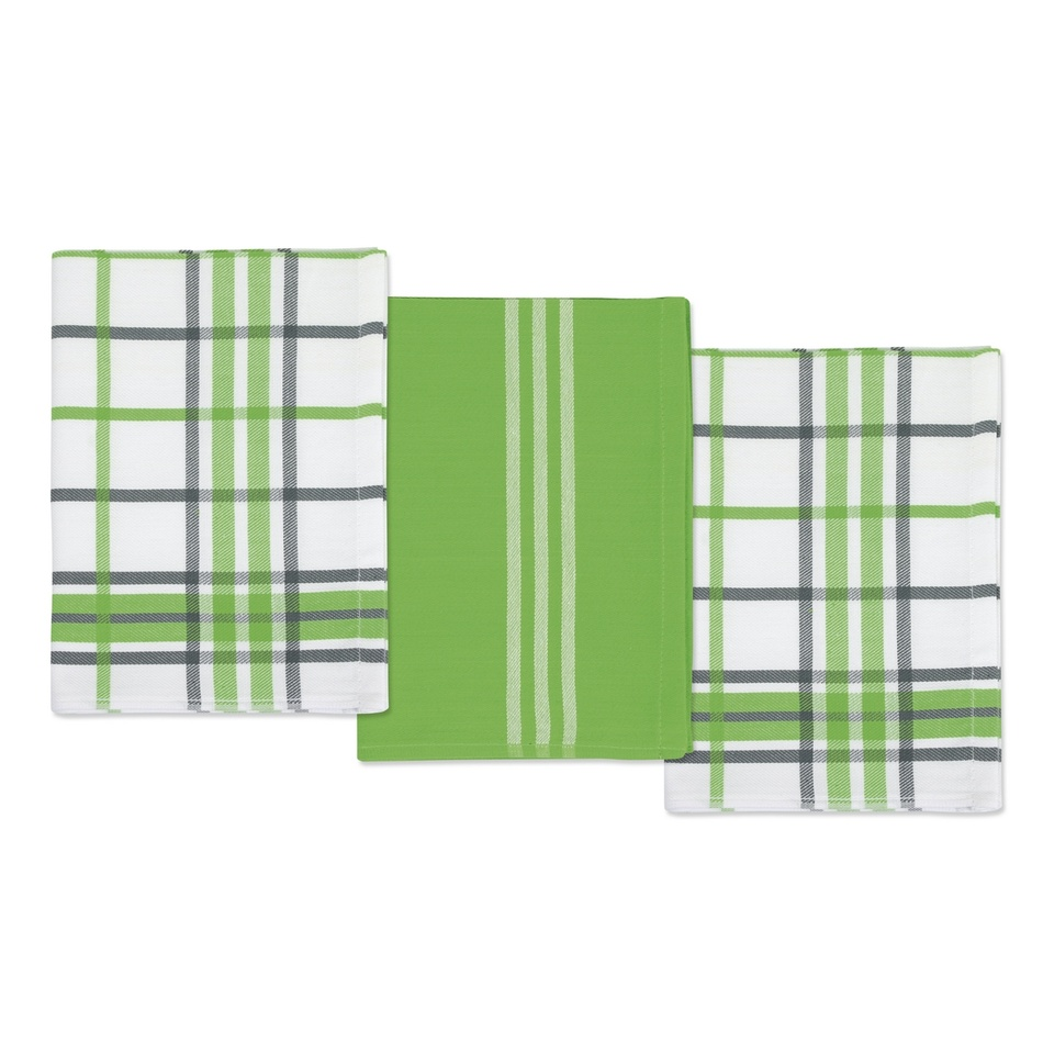 Bellatex Kuchyňské utěrky Kostka zelená a šedá, 50 x 70 cm, sada 3 ks