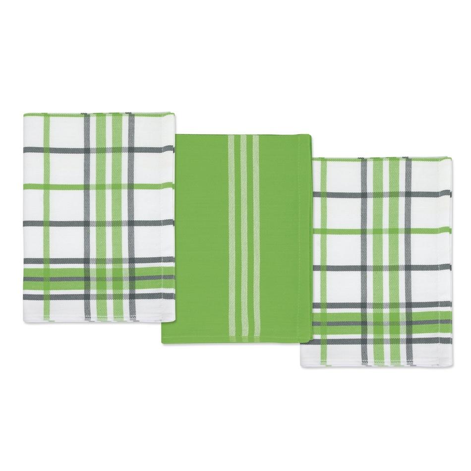 Bellatex Kuchynské utierky Kocka zelená a šedá, 50 x 70 cm, sada 3 ks